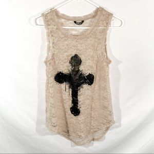 Beige lace tank top with cross graphic on front